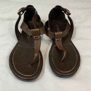 RALPH LAUREN COLLECTION BROWN LEATHER SANDALS 7